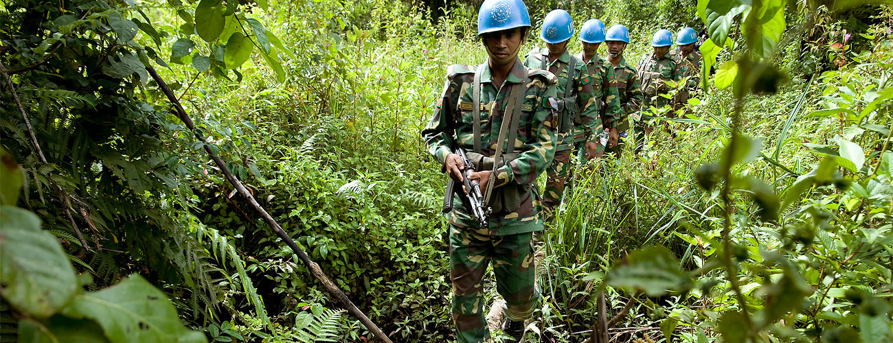 Members of the Bangladesh battalion of the United Nations Mission in Liberia (UNMIL) on patrol on October 6, 2008. (UN Photo/Christopher Herwig)