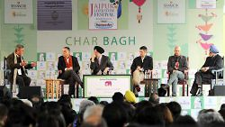 From left: Kai Bird, Gideon Levy, Hardeep Singh Puri, Adam Lebor, Fedy Joudah, and Navte Sarna at the Jaipur, Literature Festival, January 2015. (Photo by Mohd Zakir/Hindustan Times via Getty Images)