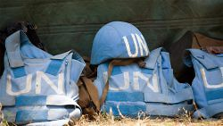 Helmet and flack jackets of the members of the United Nations Peacekeeping Mission in the Democratic Republic of the Congo. (UN Photo/Marie Frechon)