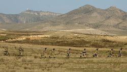 Armenian and Karabakh armed forces hold joint military exercises at a training ground near the town of Tigranakert in Karabakh, November 14, 2014. (Getty Images/Karen Minasyan)