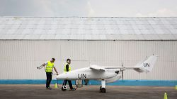 Technicians prepare an unmanned aerial vehicle (UAV) for the official launch ceremony of the UN's first UAVs. Goma, Democratic Republic of Congo, December 3, 2013. UN Photo/S. Liedi.