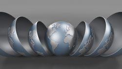 World globe being revealed like russian dolls