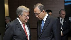 Secretary-General Ban Kimoon with Secretary-General-designate António Guterres, just before the General Assembly meeting appointing Guterres by acclamation as the next UN secretary-general,October 13, 2015. (UN Photo/Evan Schneider.)